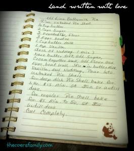 hand written recipe for buttermilk pie