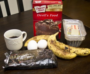 Ingredients for Chocolate Banana Bread - made easy with cake mix!