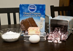 Ingredients for Peppermint Kiss Cookies