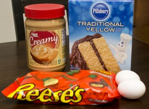Ingredients for Peanut Butter Cake Mix Cookies with Reese's Cups