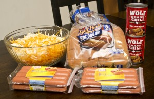 ingredients for Baked Chili Cheese Dogs
