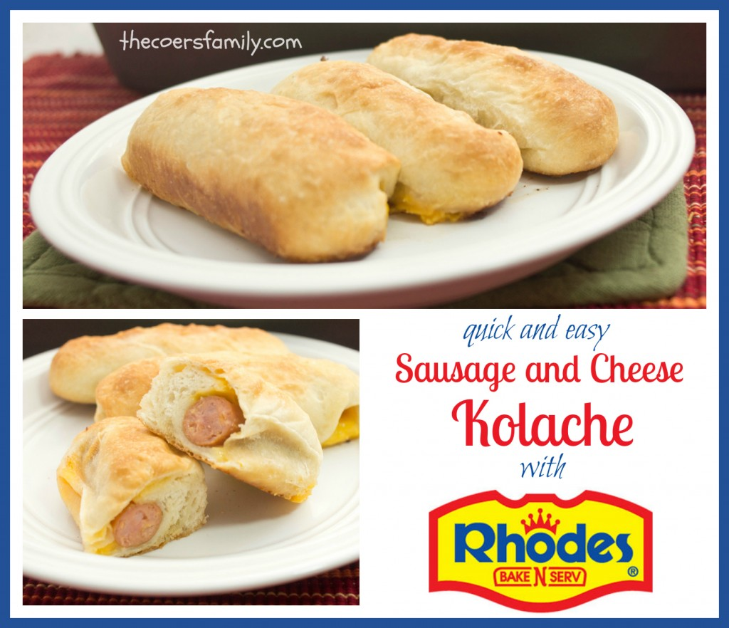 Quick and Easy sausage and cheese Kolache made with Rhodes bread rolls
