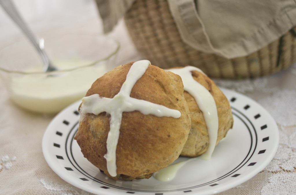making Hot Cross Buns with Rhodes Bake-N-Serve Rolls