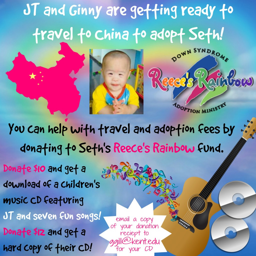 Donate to Seth's Reece's Rainbow fund here: http://reecesrainbow.org/71844/sponsorspeelman  Then email a copy of your donation receipt to ggill@kent.edu for your CD!