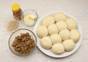 ingredients for barbecue stuffed buns made with Rhodes frozen bread rolls