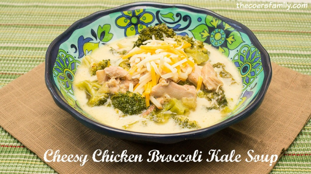 Cheesy Chicken Broccoli Kale Soup from thecoersfamily.com