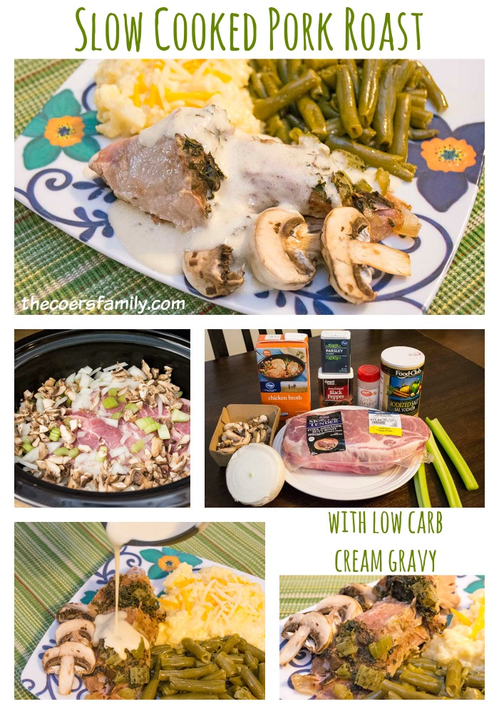 Slow Cooked Pork Roast with Low Carb Cream Gravy from thecoersfamily.com